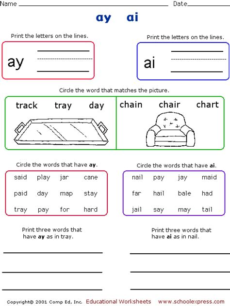Ai And Ay Worksheets by Schoolexpress 17000 Free Worksheets Ai Ay Oi