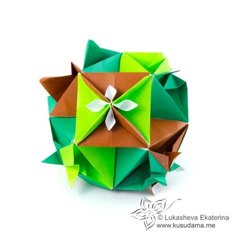 Origami Cube 6 Pieces - kusudama me modular origami cuboctahedron unit