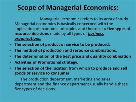 Managerial Economics For Mba Students by Scope Of Managerial Economics