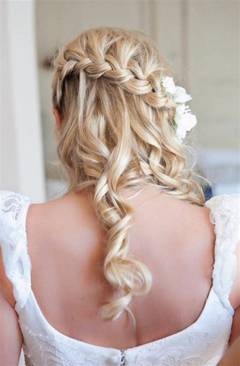 beautiful waterfall braid hairstyles for wedding back