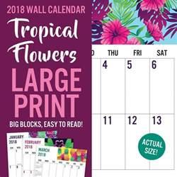 Calendar 2018 Large Flowers Large Print 2018 Wall Calendar 788958823987