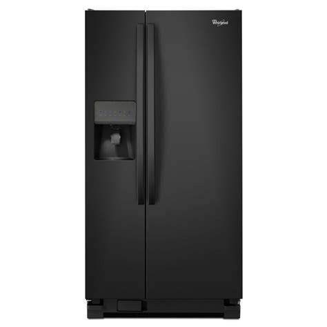 shop whirlpool 21 2 cu ft side by side refrigerator with single maker black at lowes