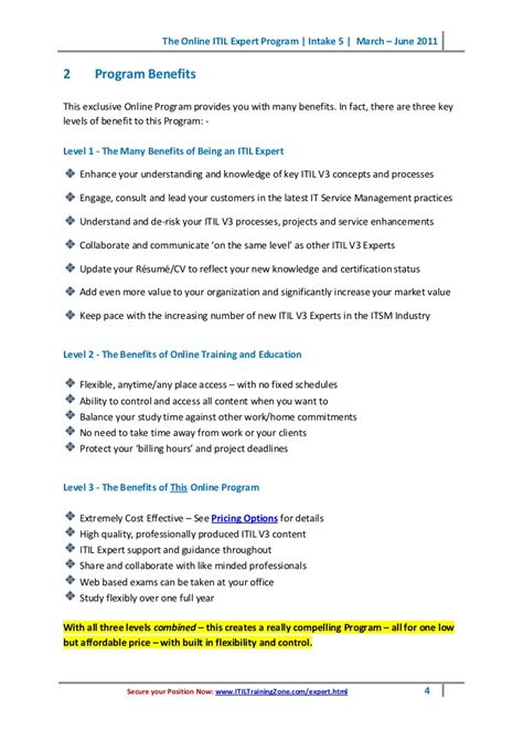 Itil Expert Sle Resume by The Itil Expert Guide