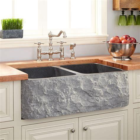 33 quot polished granite double bowl farmhouse sink chiseled