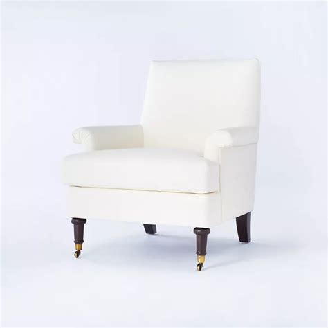mercer rolled arm upholstered arm chair  casters