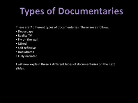 types of types of documentaries