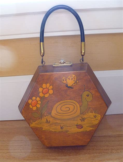 vintage decoupage wooden handbag purse from historique on