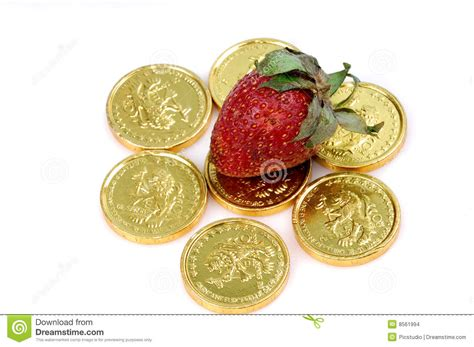 Strawberry Card Gold strawberry on gold coins stock images image 8561994