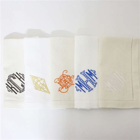 monogrammed linen napkins personalized linen monogram napkins with hemstitch and