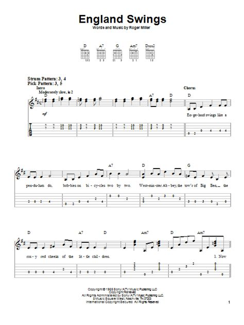 england swings lyrics england swings by roger miller easy guitar tab guitar