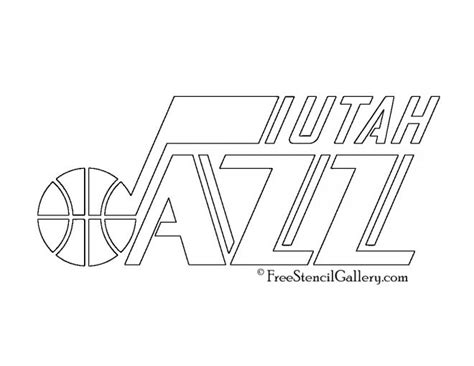 jazz basketball coloring pages nba utah jazz logo stencil free stencil gallery