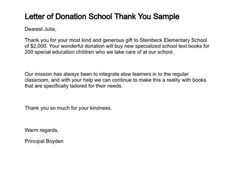 Thank You Letter For Donation For School Letter Of Donation