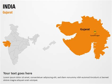 Gujarat India Powerpoint Map Slides Gujarat India Map Ppt Slides Powerpoint Map Slides Of India Map Ppt