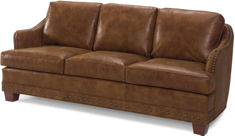 Leather Sofa With Studs New Leather Sofa Antique Style Brown Top Grain Leather Upholstery Studs Wood Ebay