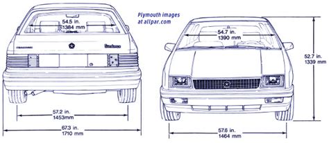 car dimensions in feet the p bodies dodge shadow plymouth duster and the