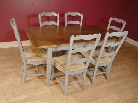 Painted Kitchen Table And Chairs Farmhouse Painted Ladderback Chair Kitchen Refectory Table Set