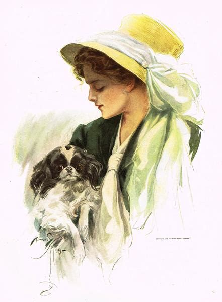 "Harrison Fisher's - ""LOVELY WOMAN WITH DOG"" - Lithograph"