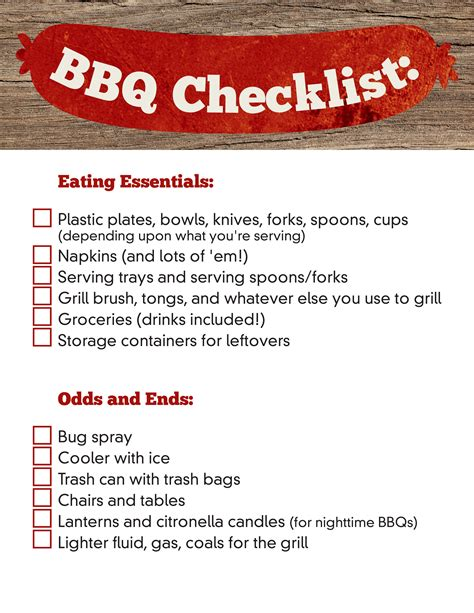 Checklist Of Things You Need For A Picnic by Planning A Bbq Checklist Planning On The Go