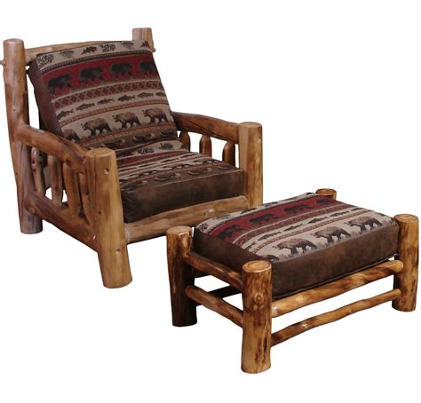 futon chair aspen log futon ottoman rustic log furniture of utah