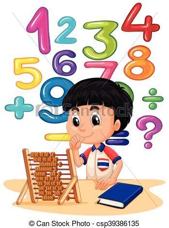 imagenes de matematicas en caricatura chłopiec liczydło matematyka ilustracja pliki