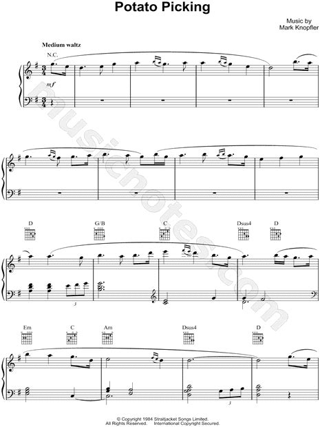 picking sheet mark knopfler quot potato picking quot sheet music piano solo in