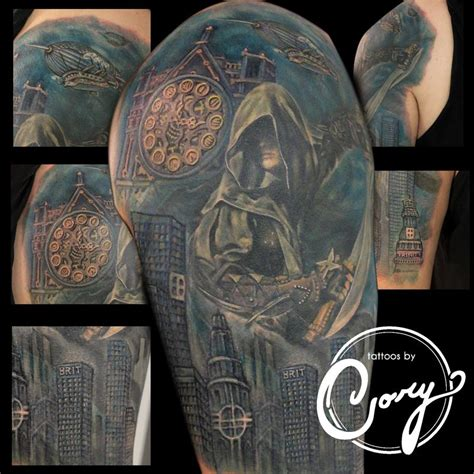 assassin tattoo assassin clock cityscape by claussen tattoos
