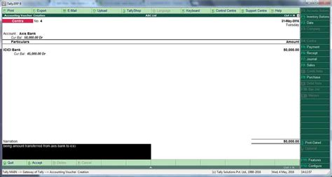 axis bank inter how to enter bank vouchers transactions in tally erp9