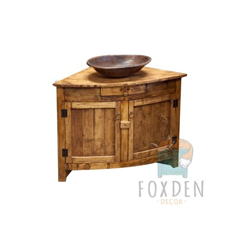 buy rustic corner vanity for small bathroom