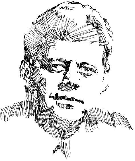 Pencil Of John F Kennedy Coloring Pages Template Jfk
