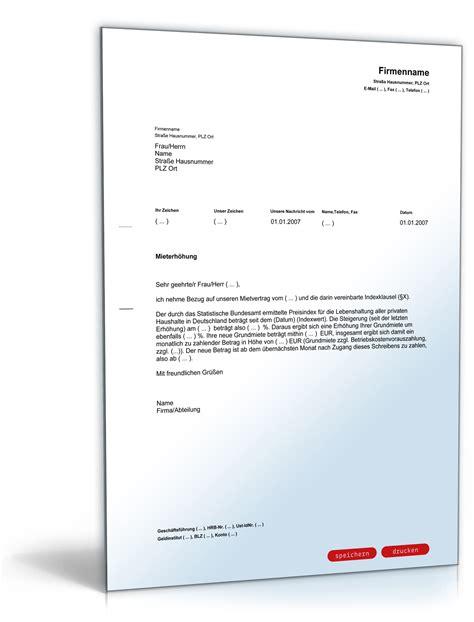 Anschreiben Englisch Formell Mieterh 246 Hungsschreiben Des Vermieters Bei Indexmiete