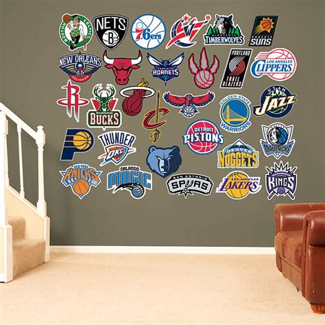 nba wall stickers nba logo collection wall decal shop fathead 174 for nba decor