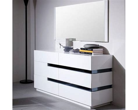 Contemporary Bedroom Dresser Modern Style White Dresser W Mirror 44b1601dr