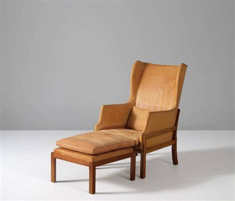 wingback chaise mogens koch wingback chair and ottoman at 1stdibs