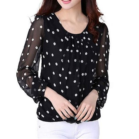 Polka Dot Chiffon Sleeve Top polka dot chiffon sleeve pullover t shirt tops