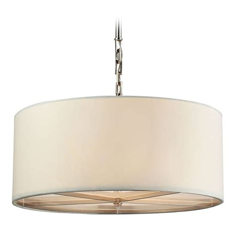 Elk Lighting Selma Polished Nickel Pendant Light With Drum Pendant Light Drum Shade
