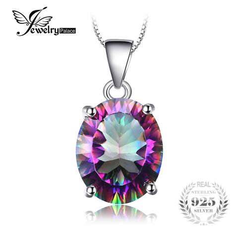 9 73 Ct Multicolor Mystic Quartz Concave Oval Facet 16 X 12 Mm jewelrypalace3 5ct genuine rainbow mystic topaz concave oval cut pendant for solid