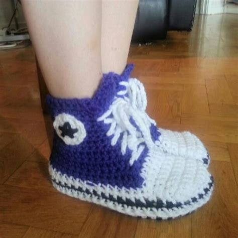 crochet converse slippers pattern free my own converse for grownups created from a free