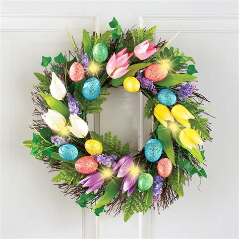 lighted wreath lighted easter egg and tulip wreath ebay