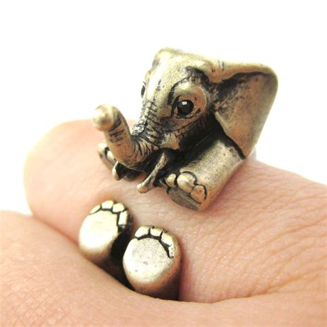 3d baby elephant animal wrap around ring in bronze size
