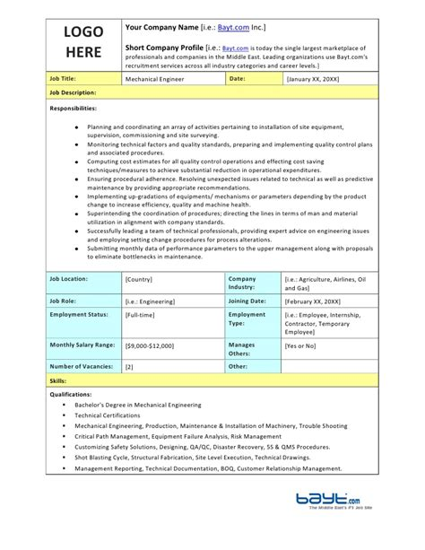 Mechanical Engineer Duties by Mechanical Engineer Description Template By Bayt