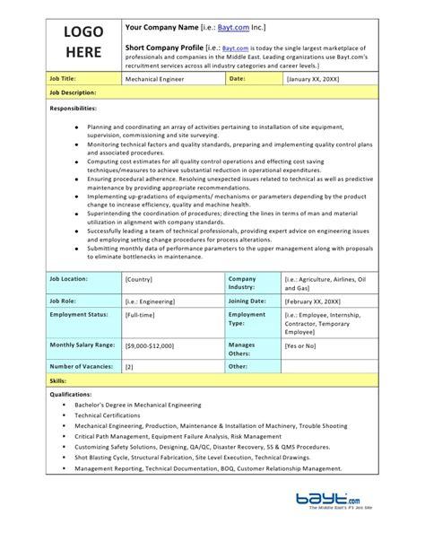 mechanical design engineer job description pdf mechanical engineer job description template by bayt com