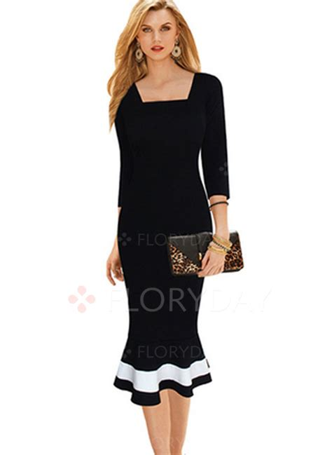 Sleeve Midi Sheath Dress solid square neckline 3 4 sleeves midi sheath dress floryday