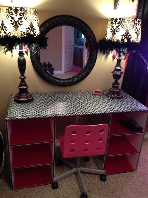 Pink And Black Vanity room pink and black chevron desk or vanity makeover