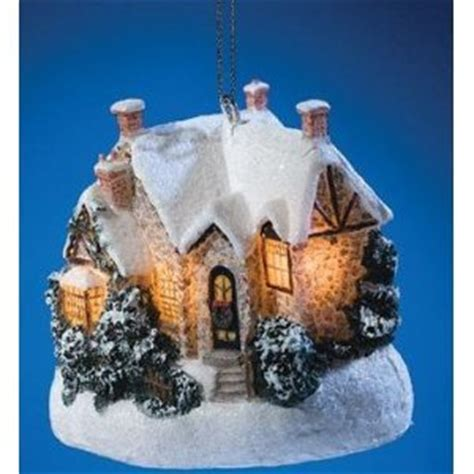 thomas kinkade light up cottage ornament christmas