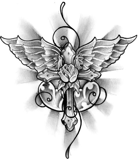 my dove tattoo by chrisbeeblack on deviantart winged cross design by thirteen7s on deviantart