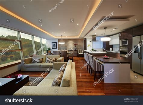Interior Design Kitchen Living Room by Interior Design Big Modern Living Room Stock Photo