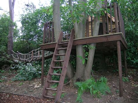 tree house with rope bridge great ideas for kids play