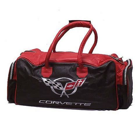 corvette black  red leather duffle bag corvette depot