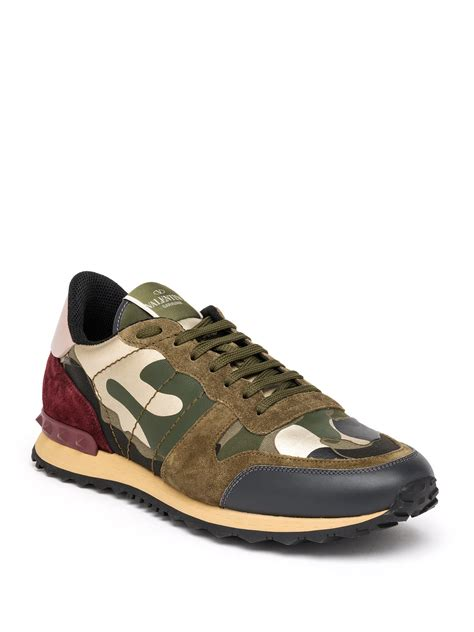 valentino sneakers mens valentino rockrunner camouflage sneakers in green for