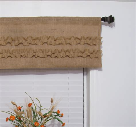 Rustic Window Curtains Burlap Ruffled Valance Rustic Curtain By Supplierofdreams On Etsy